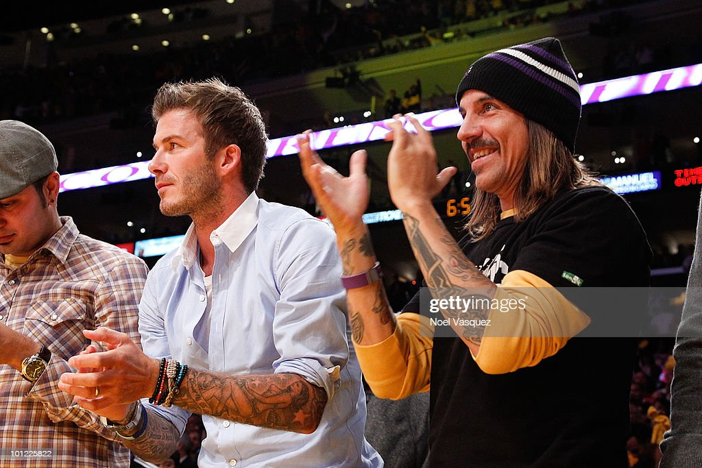 David Beckham (L) and Anthony Kiedis attend Game Five of the Western Conference Finals between the Phoenix Suns and the Los Angeles Lakers during the 2010 NBA Playoffs at Staples Center on May 27, 2010 in Los Angeles, California.