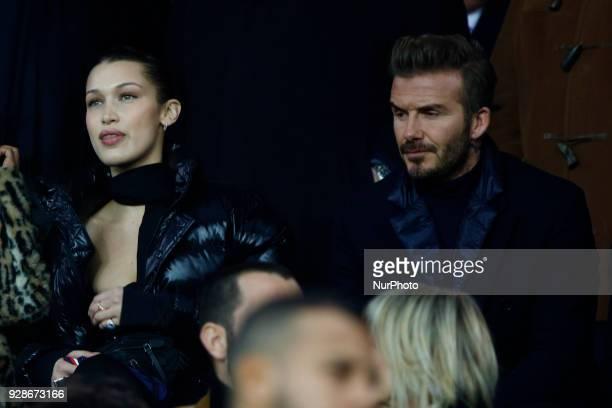 David Beckham and Bella Hadid during the UEFA Champions League round of 16 2nd leg football match between Paris SaintGermain FC and Real Madrid CF on...