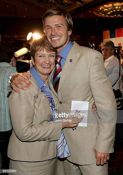 David Beckham and British Secretary of State for Culture Media and Sport Tessa Jowell celebrate as London are voted to stage the 2012 Olympic Games...