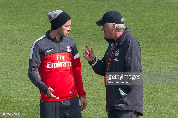 David Beckham and Carlo Ancelotti are seen during the PSG training session at Camp des Loges on April 26 2013 in Paris France