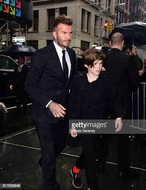 David Beckham and Cruz Beckham arrive to Balthazar on February 11 2018 in New York City
