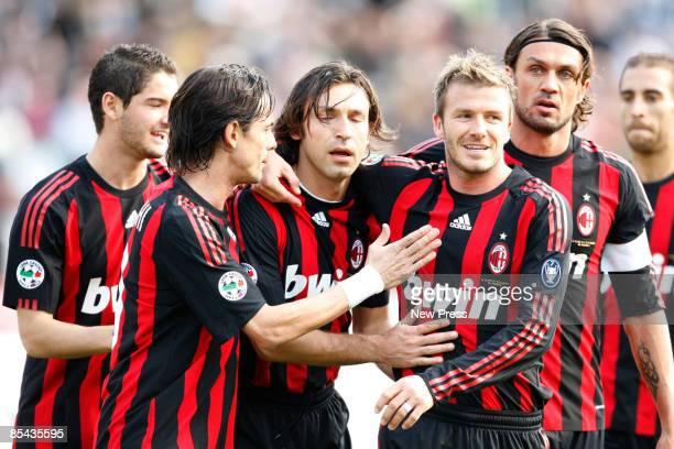 David Beckham and fellow team mates of Milan Team celebrate during the Serie A match between AC Siena and AC Milan at the Artemio Franchi Stadio on...