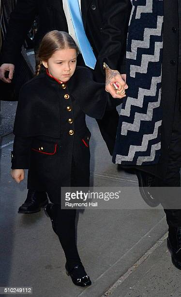 David Beckham and Harper Beckham are seen arriving at 'Balthazar Restaurant in Soho'on February 14 2016 in New York City