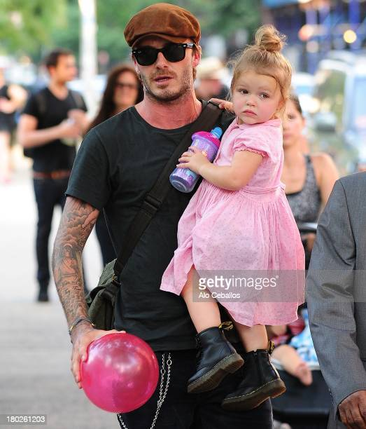 David Beckham and Harper Beckham are seen at Vesuvio Playground in Soho on September 10 2013 in New York City