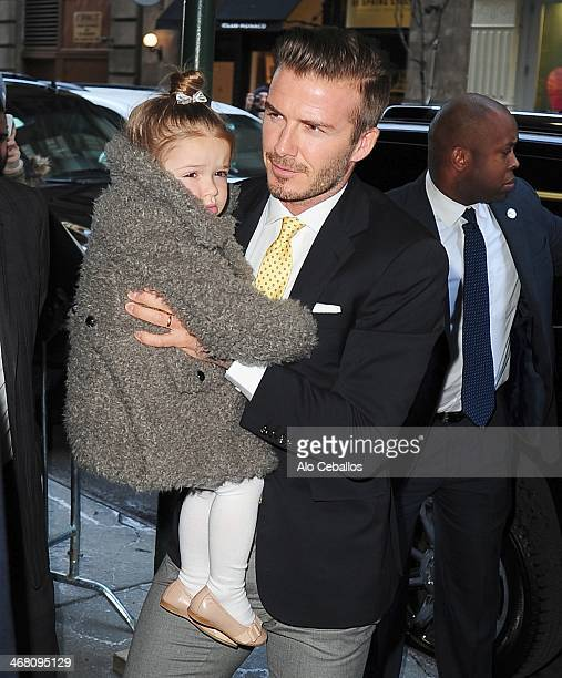 David Beckham and Harper Beckham are seen in Soho on February 9 2014 in New York City