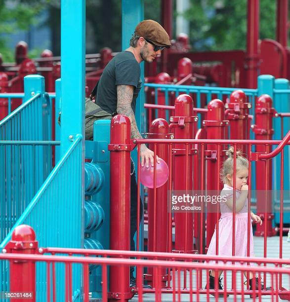 David Beckham and Harper Beckham are seen in Vesuvio Playground in Soho on September 10 2013 in New York City