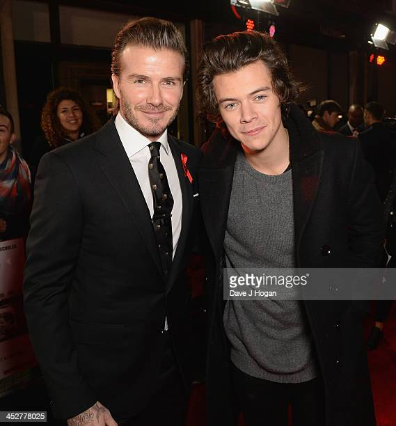 David Beckham and Harry Styles attend the World premiere of The Class of 92 at Odeon West End on December 1 2013 in London England