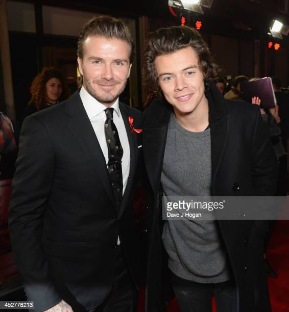 """David Beckham and Harry Styles attend the World premiere of """"The Class of 92"""" at Odeon West End on December 1, 2013 in London, England."""