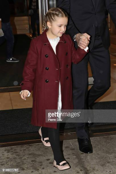 David Beckham and his daughter Harper leave their hotel to attend the Victoria Beckham show on February 11 2018 in New York City