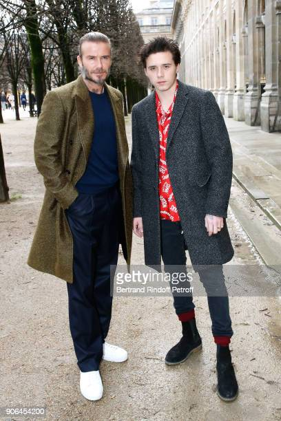 David Beckham and his son Brooklyn Beckham attend the Louis Vuitton Menswear Fall/Winter 20182019 show as part of Paris Fashion Week on January 18...