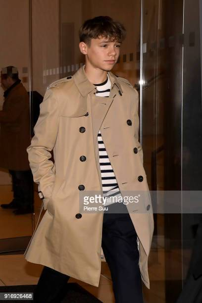 David Beckham and his son Romeo leave their hotel to attend the Victoria Beckham show on February 11 2018 in New York City
