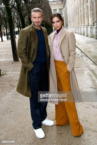 David Beckham and his wife Victoria Beckham attend the Louis Vuitton Menswear Fall/Winter 20182019 show as part of Paris Fashion Week on January 18...