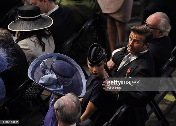 David Beckham and his wife Victoria Beckham attend the Royal Wedding of Prince William to Catherine Middleton at Westminster Abbey on April 29 2011...