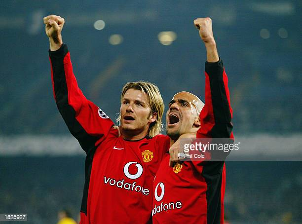 David Beckham and Juan Sebastian Veron of Manchester United celebrate the opening goal during the UEFA Champions League Second Phase Group D match...