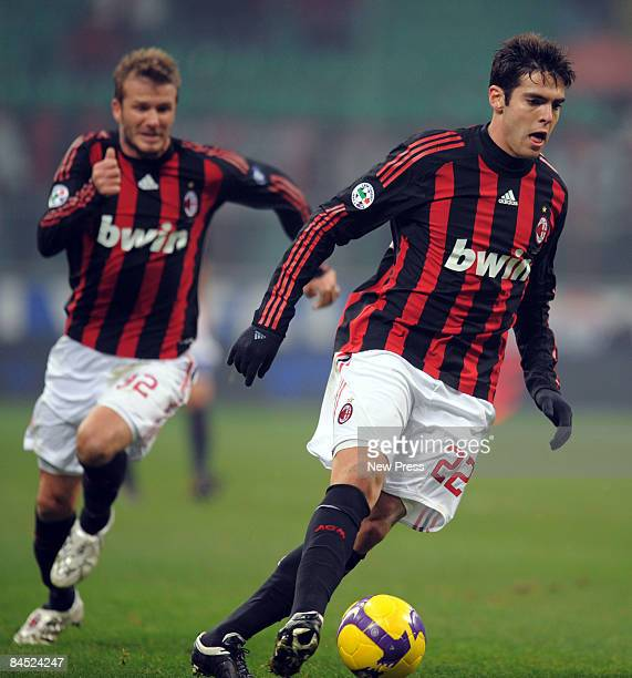 David Beckham and Kaka of AC Milan in action during the Serie A match between Milan and Genoa at the Stadio Giuseppe Meazza on January 28 2009 in...