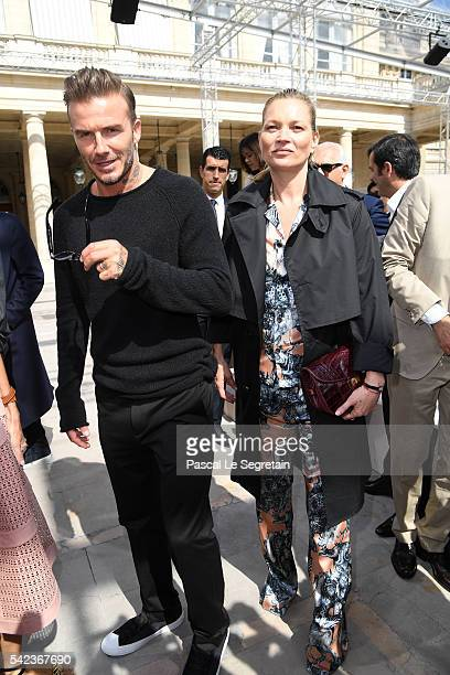 David Beckham and Kate Moss attend the Louis Vuitton Menswear Spring/Summer 2017 show as part of Paris Fashion Week on June 23 2016 in Paris France