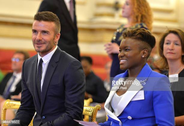 David Beckham and Nicola Adams at Buckingham Palace on June 26 2018 in London England The Queen's Young Leaders Programme now in its fourth and final...