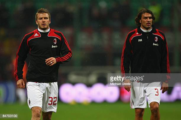 David Beckham and Paolo Maldini of Milan warm up during the Serie A match between AC Milan and Reggina at the San Siro stadium on February 7 2009 in...