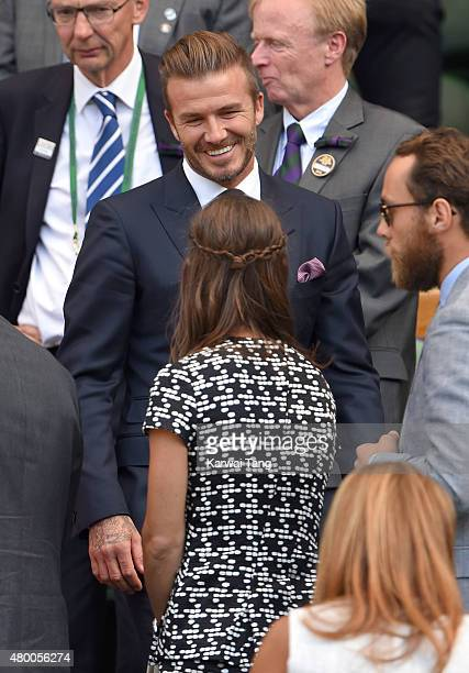 David Beckham and Pippa Middleton attend day ten of the Wimbledon Tennis Championships at Wimbledon on July 9 2015 in London England
