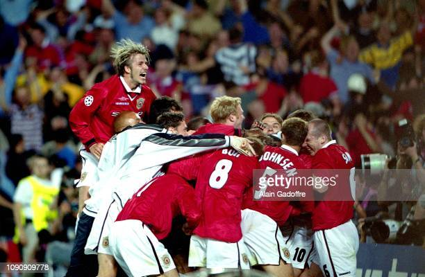 David Beckham and players of Manchester United celebrates second goal scored by Ole Gunnar Solskjaer during the UEFA Champions league final match...