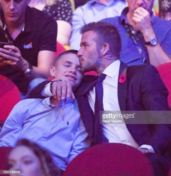 David Beckham and Romeo Beckham attend the closing ceremony of the Invictus Games on October 27, 2018 in Sydney, Australia. The Duke and Duchess of...