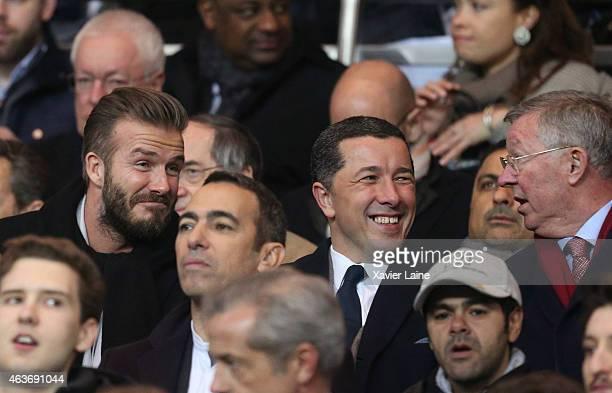 David Beckham and Sir Alex Ferguson attend the UEFA Champions League Round of 16 between Paris SaintGermain and Chelsea at Parc Des Princes on...