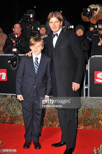 David Beckham and son Brooklyn Beckham attend 'A Night Of Heroes: The Sun Military awards' at Imperial War Museum on December 15, 2010 in London,...