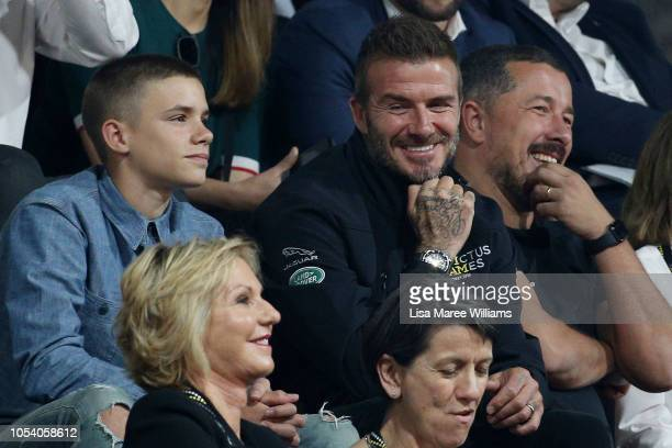 David Beckham and son Romeo Beckham attend the Wheelchair Basketball finals during the Invictus Games on October 27, 2018 in Sydney, Australia. The...