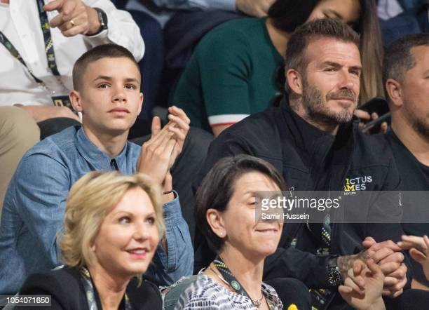 David Beckham and Son Romeo Beckham attend the Wheelchair Basketball final at the Invictus Games on October 27 2018 in Sydney Australia The Duke and...
