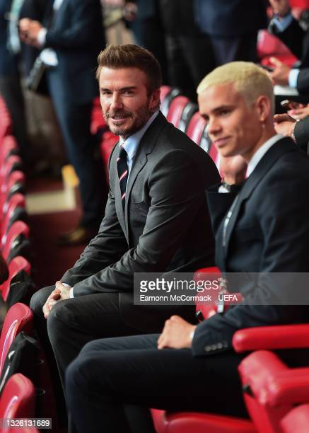 David Beckham and son, Romeo Beckham during the UEFA Euro 2020 Championship Round of 16 match between England and Germany at Wembley Stadium on June...