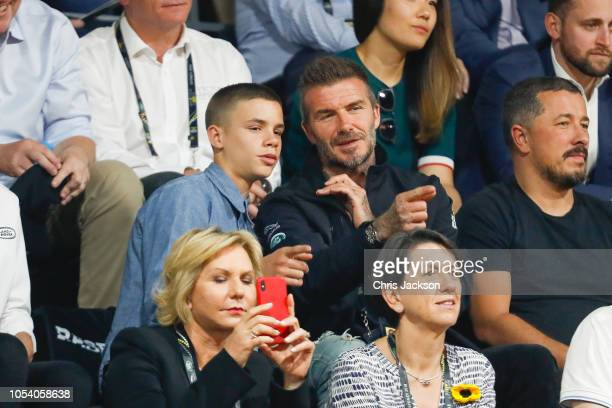 David Beckham and Son Romeo Beckham watching Netherlands and United States of America competes in the Wheelchair Basketball Gold metal macth during...