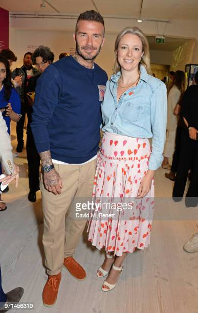 David Beckham and Stephanie Phair Chair of the BFC attend the NEWGEN LFWM June 2018 Breakfast during London Fashion Week Men's June 2018 at the BFC...