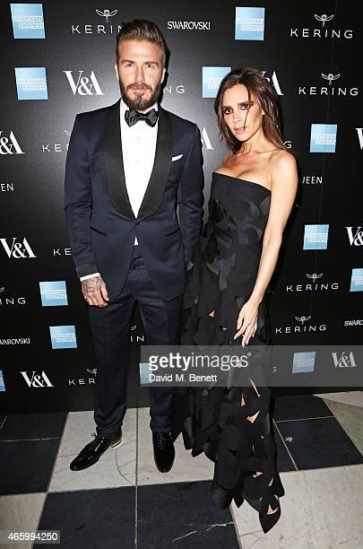 David Beckham and Victoria Beckham arrive at the Alexander McQueen: Savage Beauty Fashion Gala at the V&A, presented by American Express and Kering...
