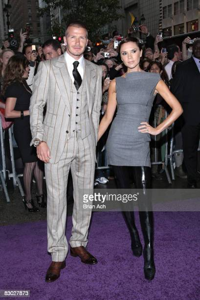 David Beckham and Victoria Beckham arrive at the Beckham Signature fragrance launch at Macy's Herald Square on September 26 2008 in New York City