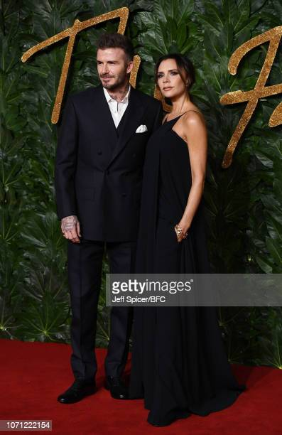 David Beckham and Victoria Beckham arrive at The Fashion Awards 2018 In Partnership With Swarovski at Royal Albert Hall on December 10 2018 in London...