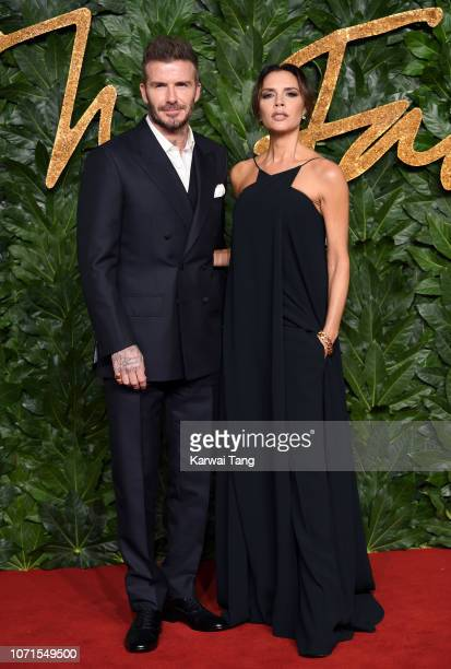 David Beckham and Victoria Beckham arrive at The Fashion Awards 2018 In Partnership With Swarovski at Royal Albert Hall on December 10, 2018 in...
