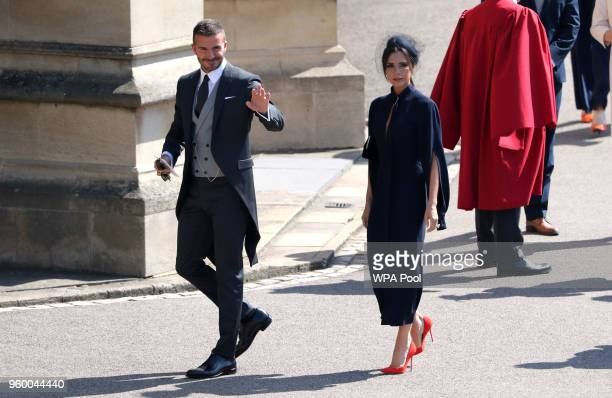David Beckham and Victoria Beckham arrive for the wedding ceremony of Britain's Prince Harry and US actress Meghan Markle at St George's Chapel...