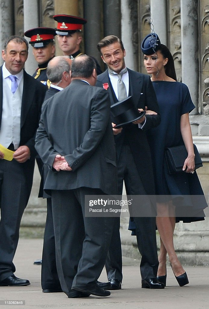 David Beckham And Victoria Arrive To Attend The Royal Wedding Of Prince William Catherine
