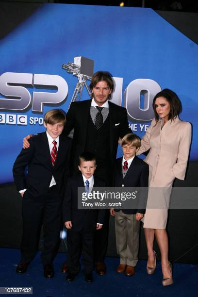 David Beckham and Victoria Beckham arrive with their children Brooklyn, Cruz and Romeo at the BBC Sports Personality Of The Year 2010 Awards at the...