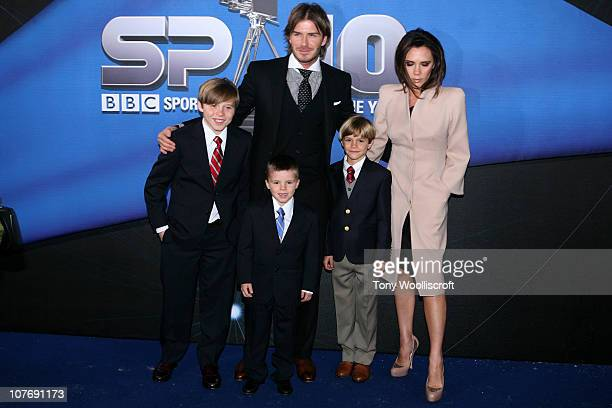 David Beckham and Victoria Beckham arrive with their children Brooklyn Cruz and Romeo at the BBC Sports Personality Of The Year 2010 Awards at the LG...