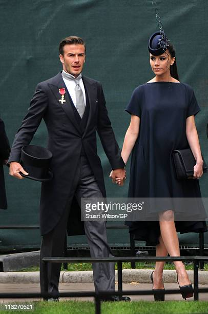David Beckham and Victoria Beckham arrives to attend the Royal Wedding of Prince William to Catherine Middleton at Westminster Abbey on April 29,...