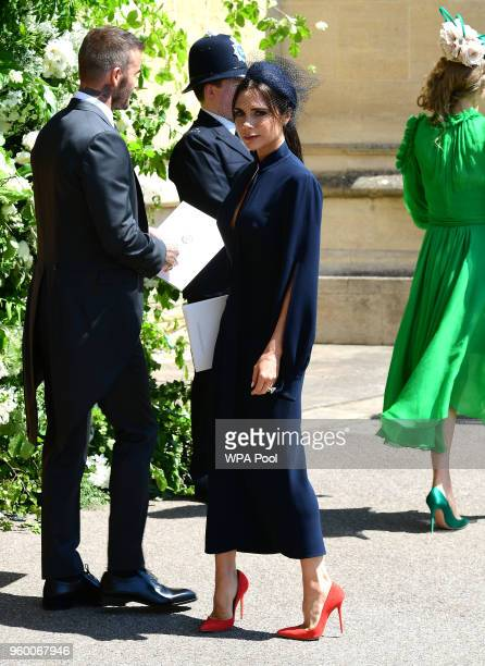 David Beckham and Victoria Beckham at St George's Chapel at Windsor Castle after the wedding of Meghan Markle and Prince Harry on May 19 2018 in...