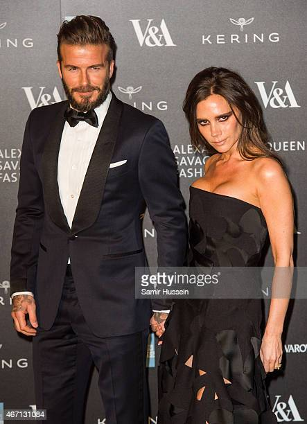 David Beckham and Victoria Beckham attend a private view for the 'Alexander McQueen Savage Beauty' exhibition at Victoria Albert Museum on March 12...