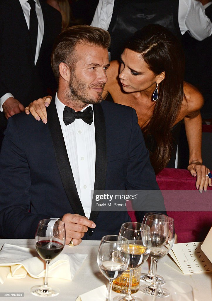 David Beckham (L) and Victoria Beckham attend an after party following the 60th London Evening Standard Theatre Awards at the London Palladium on November 30, 2014 in London, England.