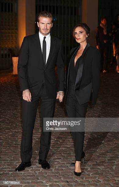 David Beckham and Victoria Beckham attend an evening celebrating with The Global Fund featuring the first green carpet challenge at Apsley House on...