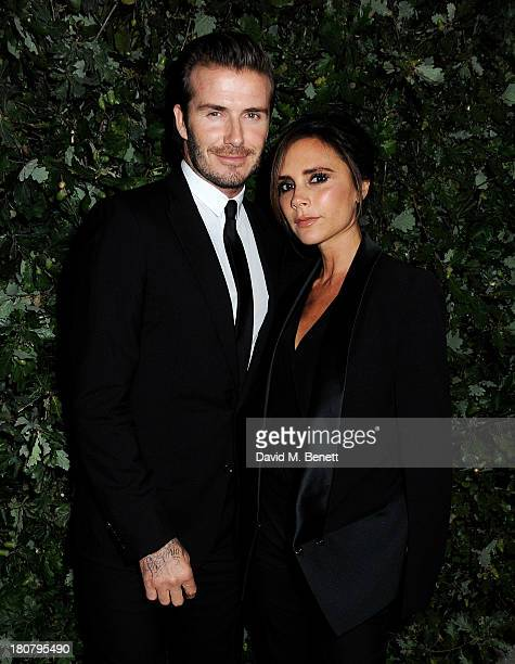 David Beckham and Victoria Beckham attend an evening to celebrate The Global Fund hosted by the Earl and Countess of Mornington Anna Wintour Livia...