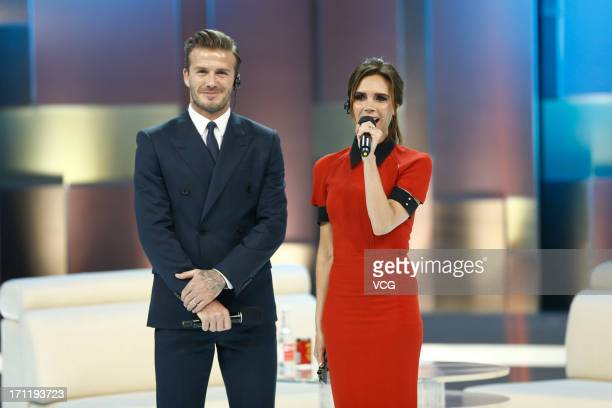 David Beckham and Victoria Beckham attend China Central Television show on June 23 2013 in Beijing China