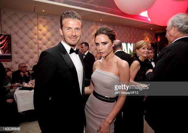 David Beckham and Victoria Beckham attend the 2012 Vanity Fair Oscar Party Hosted By Graydon Carter at Sunset Tower on February 26 2012 in West...