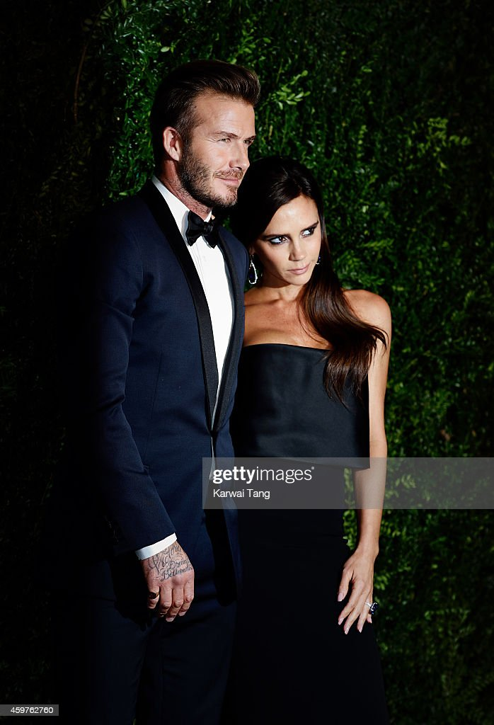 David Beckham and Victoria Beckham attend the 60th London Evening Standard Theatre Awards at London Palladium on November 30, 2014 in London, England.