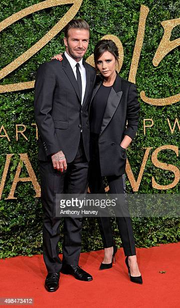 David Beckham and Victoria Beckham attend the British Fashion Awards 2015 at London Coliseum on November 23 2015 in London England